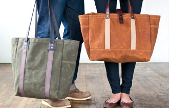 In demand: Artifact Bag Co.'s waxed canvas and leather totes.
